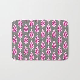 Beech Leaf Pattern, Fuchsia Pink and Silver Gray Bath Mat