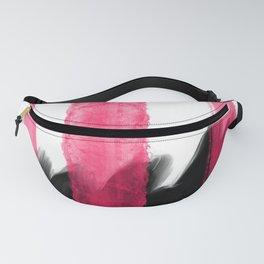 Black pink watercolor brushstrokes stripes Fanny Pack