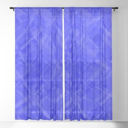 Chaotic blue ribbons with a pattern of mirrored chess rhombuses. Sheer Curtain