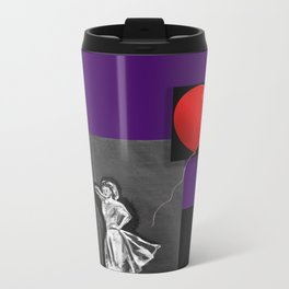 Red Balloon  and girl on black Metal Travel Mug