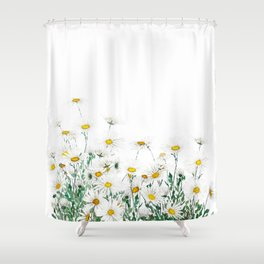white margaret daisy horizontal watercolor painting Shower Curtain