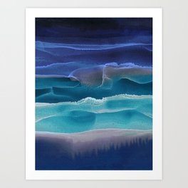 Alcohol Ink Seascape 3 - Sea at Night Art Print