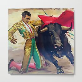 Plaza de Toros de Pamplona, Spain Bullfighting portrait painting Metal Print