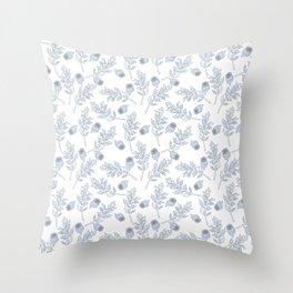 Poppy Leaves & Seeds White Throw Pillow