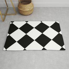 Black and white diamond pattern, geometric pattern Rug