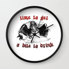Vintage Vampire Skeleton Halloween Illustration  Wall Clock