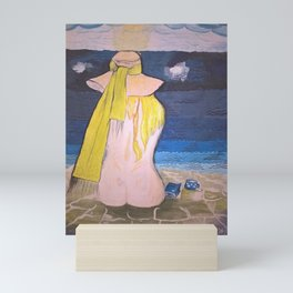 Nude girl with hat on the beach. Hand-made painting. Mini Art Print