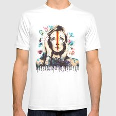 Drips of color White Mens Fitted Tee MEDIUM