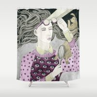 glasses Shower Curtains featuring Glasses by Yuliya