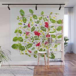 Leaves and flowers pattern (30) Wall Mural