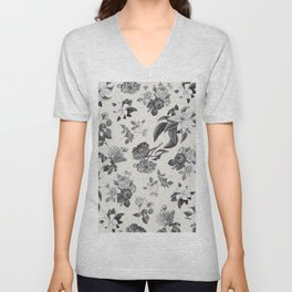 Vintage flowers on cream blackground Unisex V-Neck