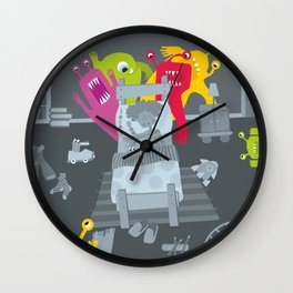 kid and ghosts Wall Clock