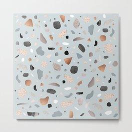Terrazzo Stone Confetti blue Metal Print