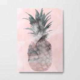 Pink Tropical Beachy Pineapple Metal Print