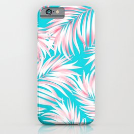 Palm Tree Fronds Hot Pink on Turquoise Hawaii Tropical Décor iPhone Case
