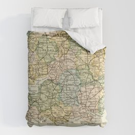 England and Wales Vintage Map Comforters