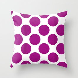 Fuchsia Polka Dot Throw Pillow
