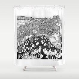 Zentangle Vermont Landscape Black and White Illustration Shower Curtain