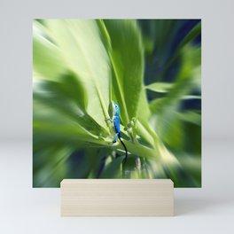 Sapphire Blue Little Lizard in Costa Rica Rainforest Mini Art Print