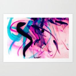 Calligraphy Rain Abstract Painting Art Print