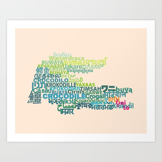 Crocodile in Different Languages Art Print