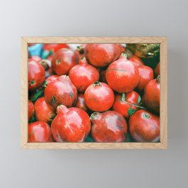 Red pomegranates on a fruit cart in Marrakech Morocco | Colorful travel food photography Framed Mini Art Print