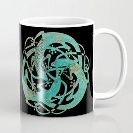 Lizards Mandala - Turquoise gold Coffee Mug
