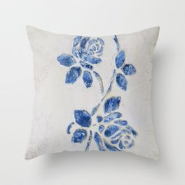 Original Art - Wedgewood Blue Roses - Raised detail & texture Throw Pillow