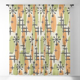 Retro Mid Century Modern Cosmic Surfer Pattern 231 Orange and Olive Sheer Curtain