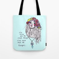 girl power Tote Bags featuring girl power by HiddenStash Art