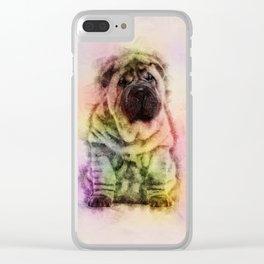 Shar-Pei puppy Sketch Digital Art Clear iPhone Case