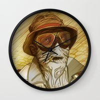 fear and loathing Wall Clocks featuring Fear and Loathing by Ant Errickson