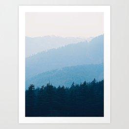 Parallax Mountain Hills Blue Hues Minimal Modern Landscape Photo Art Print