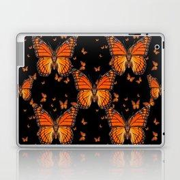 ORANGE MONARCH BUTTERFLIES BLACK MONTAGE Laptop & iPad Skin