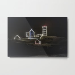 Nubble Lighthouse in December Metal Print