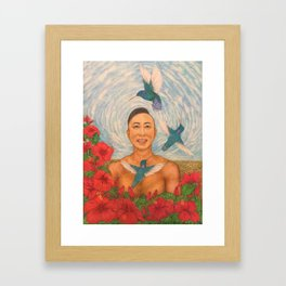 Drawing Spring Amazed By The Hummingbirds Framed Art Print