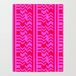 Striped Kilim in Neon Red + Pink Poster