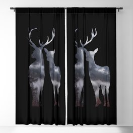 Forest deer family black pattern Blackout Curtain