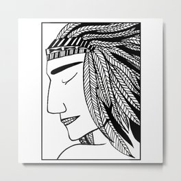 Native Indian Feathers Metal Print