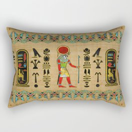 Egyptian Re-Horakhty  - Ra-Horakht  Ornament on papyrus Rectangular Pillow