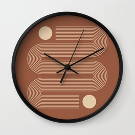 Geometric Lines in Terracotta and Beige Wall Clock