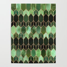 Stained Glass 5 - Forest Green Poster