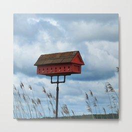 Red Bird House Metal Print