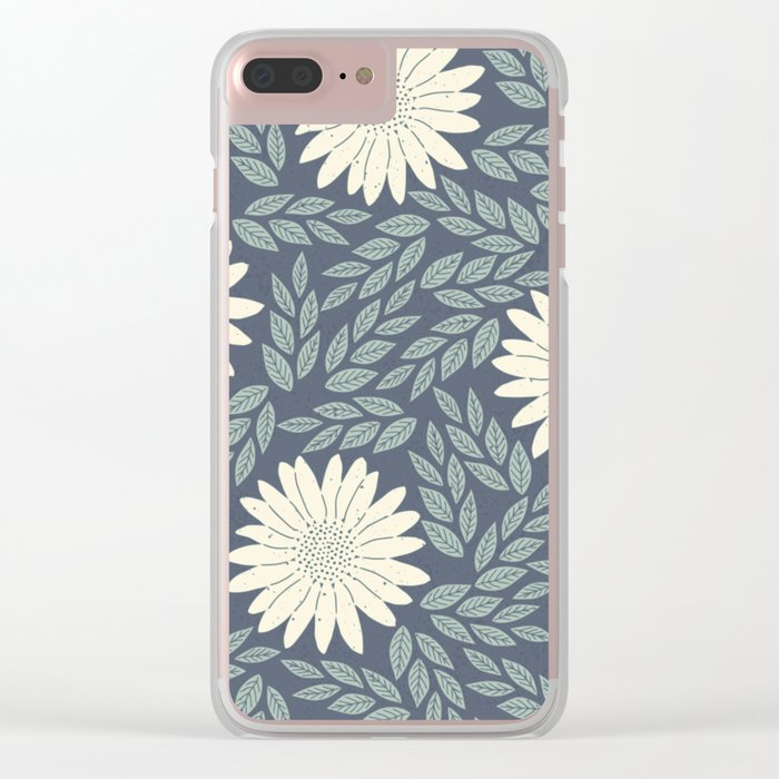 White flower retro pattern Clear iPhone Case
