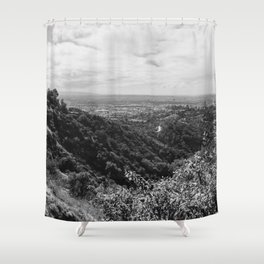Griffith Observatory of California, Back & White Shower Curtain
