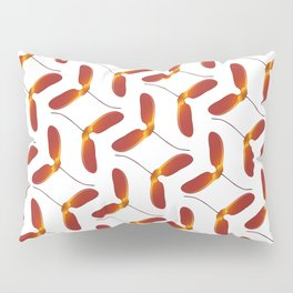 Red Japanese Maple Tree Samara Zigzag Pattern With Alternate Orientation Pillow Sham