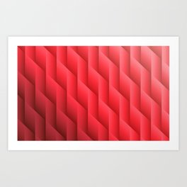 Gradient Red Diamonds Geometric Shapes Art Print