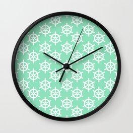 Ship Wheel (White & Mint Pattern) Wall Clock