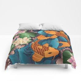 Carp Koi Fish in pond 002 Comforters