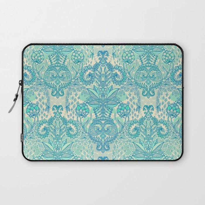 Botanical Geometry - nature pattern in blue, mint green & cream Laptop Sleeve